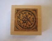 """Whispers #270 Medallion Flower Rosette Rubber Stamp Stencil Size 2.5""""  x 2.5"""" E615s"""