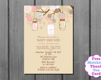 Girl Baby Shower Invitation and FREE Thank You Card Printable DIY - Pink Shabby Chic