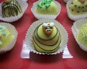 Cake Ball Truffles Lemon Cake Yellow chocolate spring decorated 12 Made to Order Pastel COlors Spring time Favors Wedding