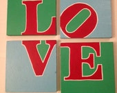 LOVE Park Hand painted Coasters