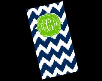 Premium Personalized Towel, soft, Absorbant, Personalized Beach Towel, custom made, screen print, chevron, polka dots ikat, Large