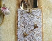 100 Burlap Flatware holders for weddings, Wedding Table Setting,Rustic Flatware Pockets