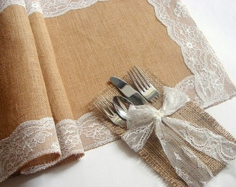 100 Burlap Flatware holders for weddings, Wedding Table Setting,Rustic Flatware Pockets