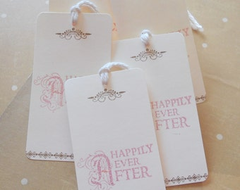 Wedding wish tree tags, romantic fairytale gift favors, hand stamped 'happily ever after' in soft pink, alternative guest book, set of 10.