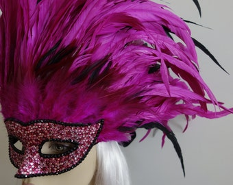 Bachanal on Bourbon Street- Fuchsia & black Rooster Feather Masquerade Mask