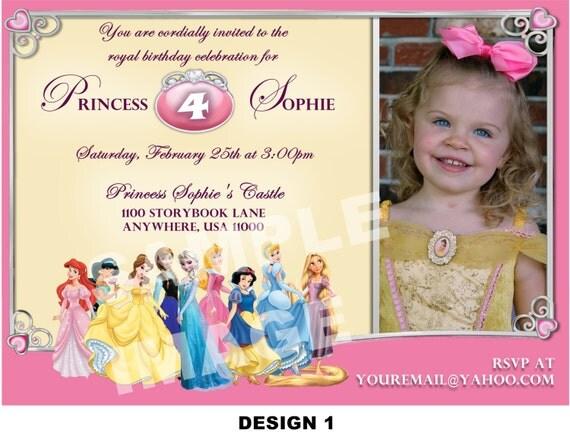 Disney Princess Invitation - Match your favorite princess - Frozen Anna Elsa / Belle / Tangled / Rapunzel / Cinderella / Snow White / Ariel