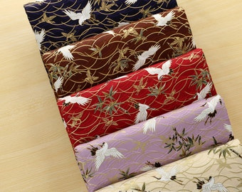 A Fat Quarter- Japanese Kimono Cotton Fabric With Gilding White Crane In Brown Red Purple Blue Yellow