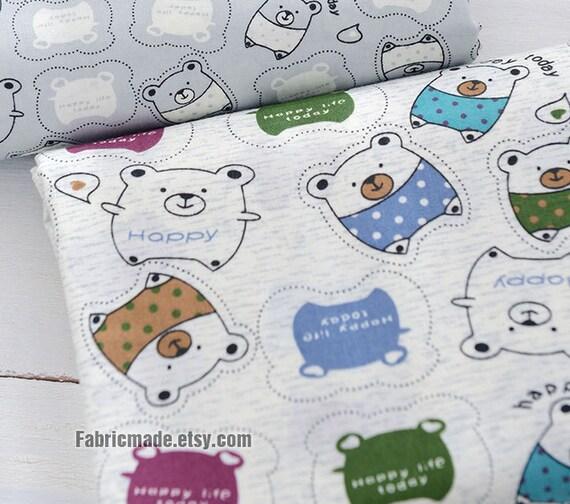 Kids children cotton fabric happy little bear cotton by for Kids cotton fabric