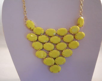 Bib Necklace with a Gold and Yellow Pendant