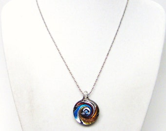 Small Round Fused Glass Swirl Charm Necklace