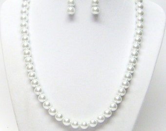 Glowing 8mm White Glass Pearl Necklace and Earrings Set