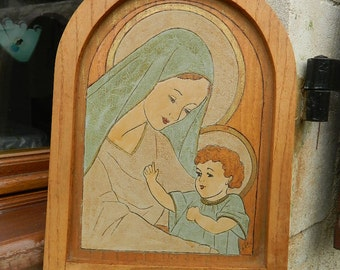 Wood engraving of the Virgin Mary and Child
