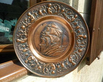 Copper tray wall decor