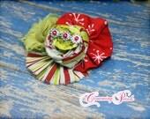 Lime Green, Red, Ivory Christmas Headband, Holiday Hair Clip, Retro Christmas Colors, Hair Accessory, Hair Bow, Baby, Fabric Flower Headband