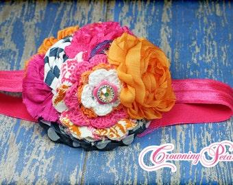 Fuchsia Pink, Orange, Navy Headband, Hair Bow, Hair Accessories, Fabric Flowers, Flower Hair Bow, Hair Clip, Hair Piece, Baby Girl Headband