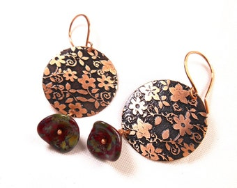 Flower Earrings, Floral Earrings, Dangle Earrings, Oxidized Earrings, Etched Copper Jewelry, Christmas Gift for Her, Women Accessories