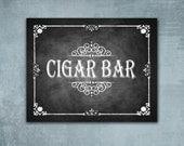 Cigar Bar - PRINTED wedding sign - Rustic Rose collection