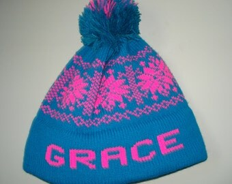 Personalized machine washable knit hats
