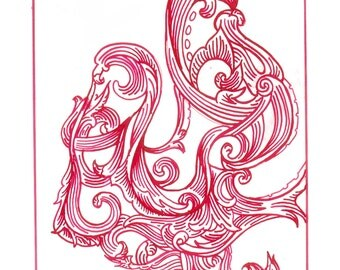 """Octopus Drawing - Cephalopods and Script  - Fine Art Giclee Print of 5""""x7"""" Scrollwork Drawing in Red Ink"""