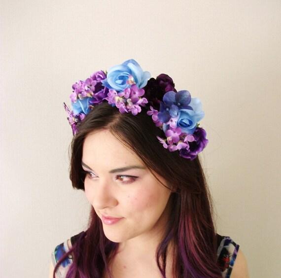 Flower Crown Purple: Blue Rose Purple Anemone Butterfly Flower Crown Floral
