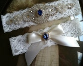 Wedding Garter-Garters-Bridal Garter-Blue-garter-Keepsake-Something blue-Ivory Lace Garter Set-something blue-bridal white-off-white