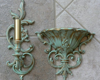 Syroco / Homco - Wall Hanging, Candle Holder and Flower Holder, Gold patina green - FS-422