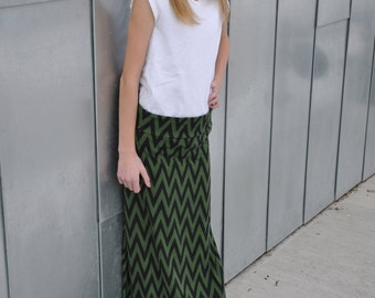 Girls Chevron Maxi Skirt in Green and Black