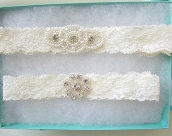Wedding Garter, Bridal Garter, Garter Set - Pearl & Crystal Rhinestone gems on a Ivory Lace