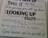 I won't give up, Song Lyrics on canvas, anniversary, first dance, music gifts