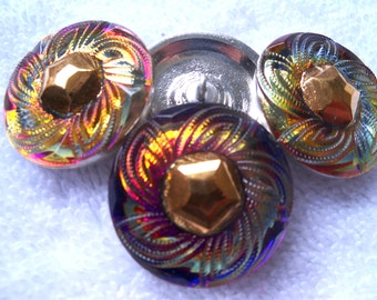 Czech  Glass Buttons  4 pcs    GORGEOUS   27mm     IVA 034