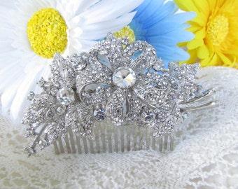 Rhinestone Flower Hair Comb,Crystal Hair Comb,Bridal Hair Accessories, Rhinestone Wedding Hair Comb,crystal wedding comb,bridal tiara,