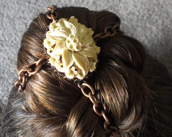 Steampunk Flower Bun Cover Hair Accessory