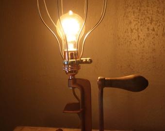 Vintage Food Grinder Lamp.