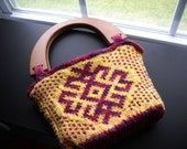 """The """"Slavic Star"""" Knit Purse with Velvet Lining and Pockets, Ready to Ship"""