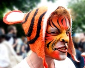 Tiger Festival Costume Hat, hand felted cosplay performance party wear
