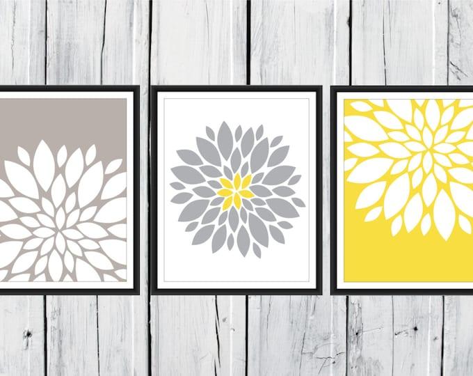 Floral Print Set - Yellow and Gray Decor -  3 Print Set Custom Colors and Size -  Nursery Decor