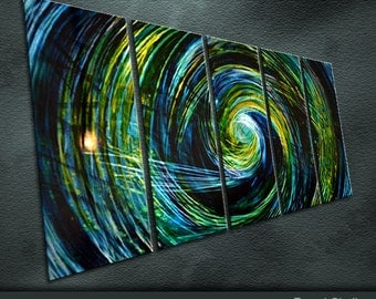 """Original Large Metal Wall Art Modern Abstract Painting Sculpture Indoor Outdoor Decor """"Outer Space"""" by Ning"""