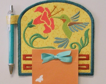 Hummingbird Magnetic Embroidered Notepad Holder