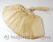 LARGE Shabby Chic Tea Stained Paper Tags with String for Scrap Booking, Wedding Decor, or Gift Giving--25, 50, 75 or 100 tags