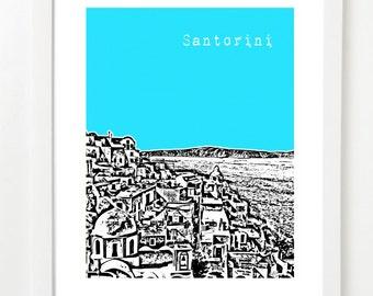 Santorini Poster - Santorini Greece City Skyline Art Print - Santorini Greece - Santorini Honeymoon Gift