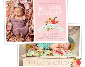 Birth Announcement Template for Photographers - Baby Girl Photo Card Template - Watercolor Photography Photoshop Template - BA158