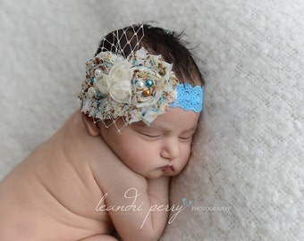 Newborn Infant Baby Headband, Photo Prop, Ready to Ship, Photography Prop, Couture, Lace Newborn Headband. UK Seller.