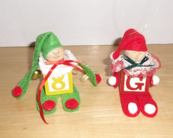Vintage Christmas Ornaments - Two Elves Wooden Block Christmas Decorations