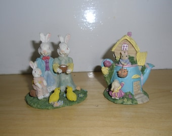Vintage Easter Bunnies - Mr. and Mrs. Easter Bunny Family, Easter Rabbits, Bunnies in a Watering Can, Easter Decor, Spring Decor