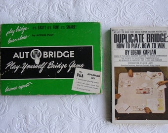 Vintage Book and Game - Duplicate Bridge by Edgar Kaplan - Autobridge Advanced Course - Alfred Sheinwold 1957 - 64 Deals with Instructions