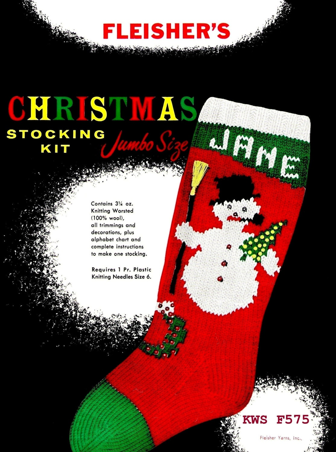 Knit Christmas STOCKING Snowman Instant by KinsieWoolShop on Etsy