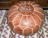 MOROCCAN POUF :hand stitched / embroidered  ( Light Natural Tan)
