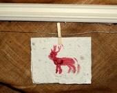 A Red Reindeer. A handmade greeting card.