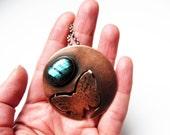 Labradorite Necklace Statement Butterfly Pendant Copper Sterling Silver Animal Natural Blue Flash Stone Gemstone Bib Contemporary Metalsmith