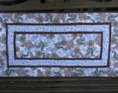Quilted Table Runner - Table Topper - Blue and Brown Paisley
